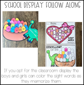 Valentine's Day Sight Word Activity Display Chart {EDITABLE} February Themed