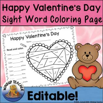 Valentine's Day Sight Word Coloring Sheet Activity   *Editable*