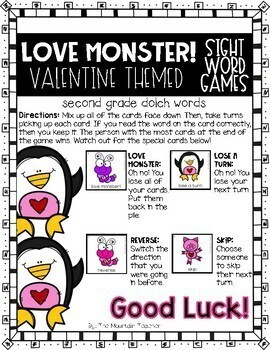 Valentine's Day Sight Word Game