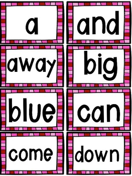 Valentine's Day Sight Word Game (Dolch Pre-primer and Primer)