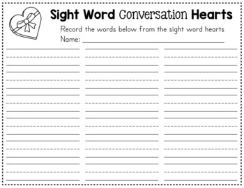 Valentine's Day Sight Words - Conversation Hearts