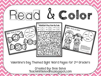 Valentine's Day Sight Word Practice Pages for Second Grade