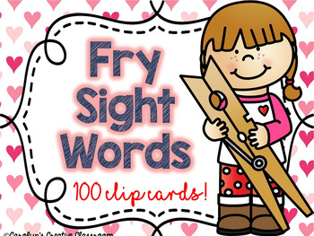 Valentine's Day Sight Words (100 Fry Sight Words) - Envelope Clip Cards