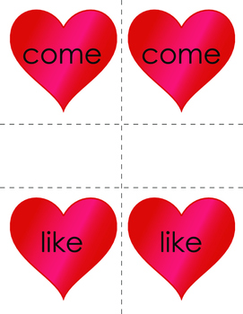 Valentine's Day Sight Words Matching Game