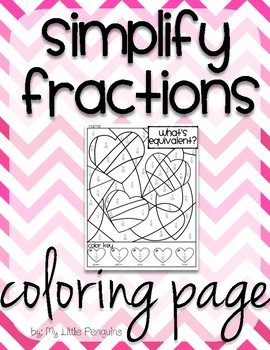 Valentine's Day Simplify Fractions coloring page no prep