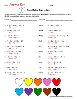 Valentine's Day Simplifying Expressions Cooperative Learning
