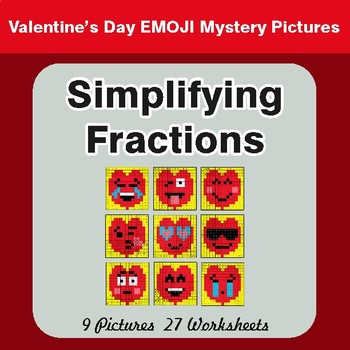 Valentine's Day: Simplifying Fractions - Color-By-Number Math Mystery Pictures
