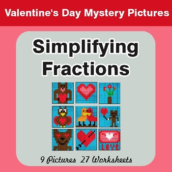 Valentine's Day: Simplifying Fractions - Color-By-Number Mystery Pictures