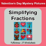 Simplifying Fractions - Color-By-Number Valentine's Math M