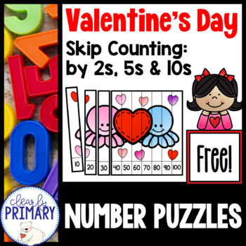 Valentine's Day Skip Counting Puzzle: Free