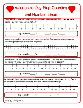 Valentine's Day Skip Counting and Number Lines