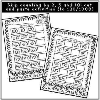 Valentine's Day Skip Counting by 2, 5 and 10 Cut and Paste
