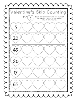 Valentine's Day Skip Counting by 5 and 10
