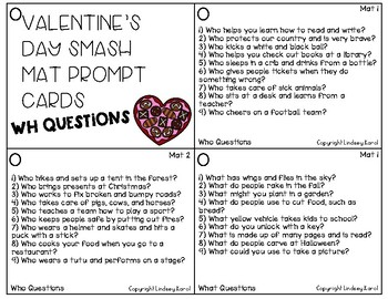 Valentine's Day Smash Mats: WH Questions