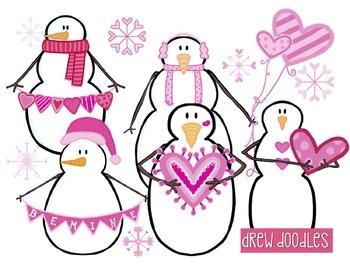 Valentine's Day Snowmen Digital Clip Art Set