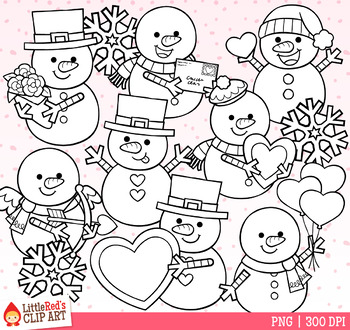 Valentine's Day Snowmen Clip Art