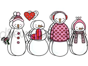 Valentine's Day Snowmen- Color and Black Line COMBO