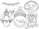 Valentine's Day Snowmen Digital Clip Art Set- Black Line Version