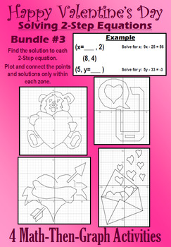 Valentine's Day - Solve 2-Step Eqs. - 4 Math-Then-Graph Activities - Bundle #3