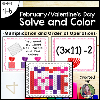 Valentine's Day Solve and Color (Multiplication and Order of Operations)
