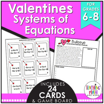 Valentine's Day Solving Systems of Linear Equations Game