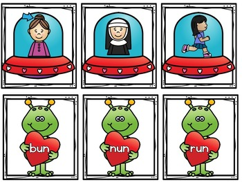 Valentine's Day Spaceship and Alien Word Family Matching Game!