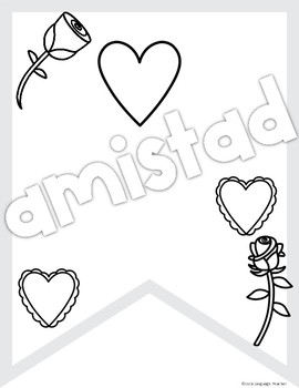Valentine's Day Spanish Coloring Banners