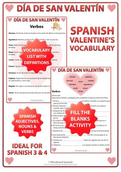 Valentine's Day Spanish Vocabulary Lists and Worksheets
