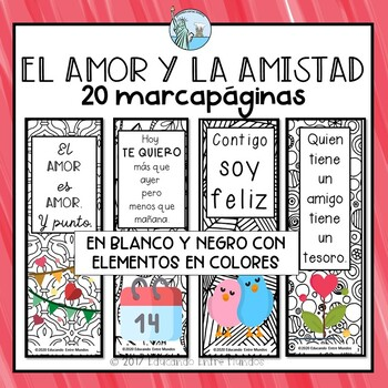 Valentine's Day Spanish bookmarks - Dia de San Valentin marcapaginas
