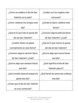 Valentine's Day: Spanish speaking activities