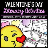 Valentine's Day - Literacy - Special Education - Reading - Writing - No Prep