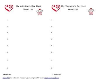 Valentine's Day Speech Word Hunt List