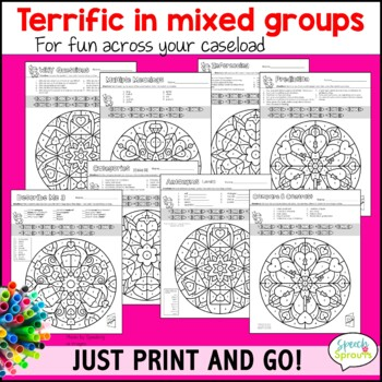 Valentine's Day Speech and Language Activities with Mandala coloring pages