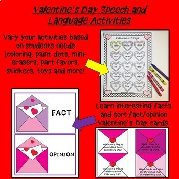 Valentine's Day Speech Therapy Activities for K-3rd Grade