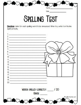 Valentines Day Spelling Menu | Valentines Day Activities | Spelling Practice