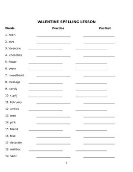 Valentine's Day Spelling Lesson