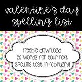 Valentine's Day Spelling List