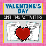 Valentine's Day Spelling List, Class Game, Vocabulary Acti