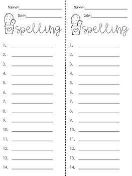 Valentine's Day Spelling List Freebie!