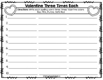 Valentine's Day Spelling Worksheets