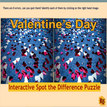 Valentine's Day Spot the Difference Puzzle Grade 6-8