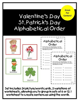 Valentine's Day/St. Patrick's Day Alphabetical Order