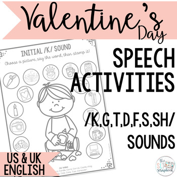 Valentine's Day Stamp n Say Speech Sound Worksheets- No Prep