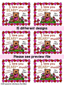 Valentine's Day Student Gift Tags - 15 Different EDITABLE Designs