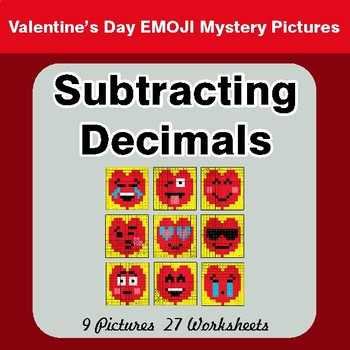 Valentine's Day: Subtracting Decimals - Color-By-Number Math Mystery Pictures