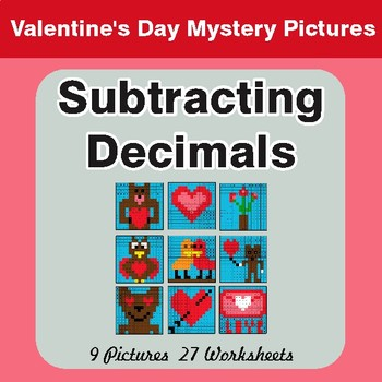 Valentine's Day: Subtracting Decimals - Color-By-Number Mystery Pictures