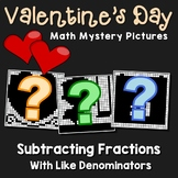 Valentine's Day Subtracting Fractions With Like Denominators