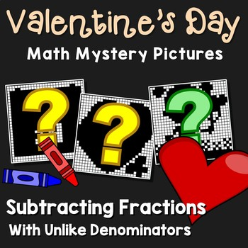 Valentine's Day Subtracting Fractions With Unlike Denominators