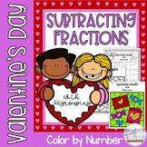 Valentine's Day Subtracting Fractions with Regrouping Color by Number