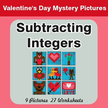 Valentine's Day: Subtracting Integers - Color-By-Number Mystery Pictures